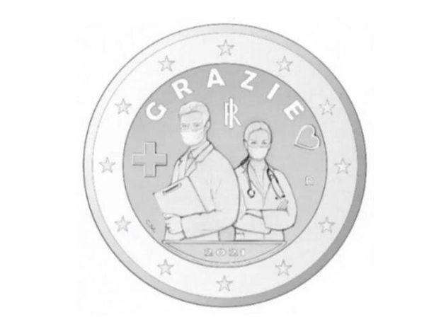 moneta speciale due euro per medici e infermieri